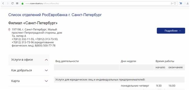 росевробанк санкт петербург официальный сайт